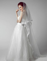 vestido de casamento coreano marfim venda por atacado-3 Metros Longa Arrastar Coreano Lace Casamento Fotografia Casamentos Vestido Cabeça Ornamentos Marfim / Branco Véus De Noiva Véu De Noiva
