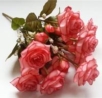 Wholesale Single Rose Decoration - Rose Bouquet Arrangements Bouquet Single Rose Party Nosegay Silk Flowers Craft Decoration Flowers Decoration For Wedding Red Flower Bouquet