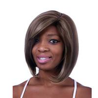 Wholesale Sexy Wig - 2017 New fashion wig Moda a prueba de calor castaño   negro corto y rizado señora de fantasía de para Cosplay mujeres Sexy sintético peluca
