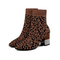 Sock Ankle Short Boots Marca Metal Heel Slip On Block Knit Mulheres Designer Leopard Print Inverno Pointed Toe Shoes High Chunky Novo