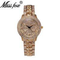 Wholesale Diamond Silver Watch Women - New Style Fashion Water-proof Watches Women Leisure Sport Watches Quartz Folding Buckle Watch Luxurious Diamond Watches