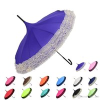Wholesale pagoda rain parasol resale online - Elegant Lace Pagoda Umbrella Lace Golf Umbrella Fancy sunny rainy Pagoda Umbrellas Lace Trim Windproof Long Handle Parasol