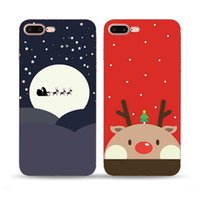 Wholesale Case Iphone Santa Claus - Merry Christmas Santa Claus Elk cell Phone Cases For iPhone 5S 6S 7 Plus cases Ultra Thin TPU painting back silicone cover shell