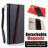 Wholesale Black Leather Phone Case - Premium luxury phone case For iphone X 8 7 6 6s plus Detachable Magnetic Snap-on PU Leather Wallet Cases Card Slot Flip Case Cover