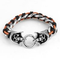 Wholesale Pure Silver Chains For Men - 2016 Promotion Fashion Pure Handmade Woven Genuine Leather Bracelets New Brand Double Skull Punk Wide Cuff Bracelets & Bangle for Women Men