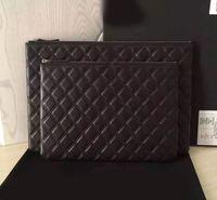Wholesale ipad small online - 2016 new fashion women caviar clutch luxury style lambskin clutch real leather cosmetic bag caviar ipad bag women evening bag black cm