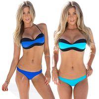 Wholesale Bikini For Wholesale Design - PrettyBaby Sexy Halter Spliced Color Block Bikini Set For Women Bandage Design Patchwork Push Up In Summer Beach Wear light blue