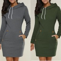 Wholesale Jumper Dresses Women - Long Jumper Ladies Hoodies Dress Black Gray Wine Red Army Green Autumn Winter Women Long Sleeve Hooded Hoodies Sweatshirts 5XL DHL Nx170909