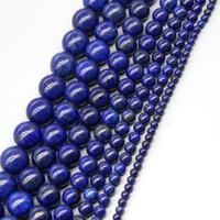 Wholesale Lapis Cross - Lapis Lazuli Stone Loose Beads with 2 3 4 6 8 10 12 14 16mm Lapis Lazuli Jewelry Bracelet Necklace Earrings Diy