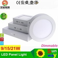 Cuadrado cuadrado 9W 15W 21W 30W LED Luz de techo Dimmable Led Panel de luces de superficie Montado Lámpara LED Caliente Natural Cool White AC 110-240V