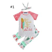 Wholesale newest clothing styles for sale - Newest INS Girls Childrens Clothing Sets Short Sleeve tshirts Printed Pants Piece Set Letters Arrow Kids Clothes Suits Boutique Clothing B