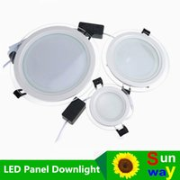 Wholesale Epistar Chip Led Downlight - New Arrival! 6w 12w 18w Led Glass Panel Downlight round panel light Epistar SMD 5630 chip ceiling recessed light free shipping
