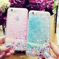 Wholesale Iphone Star Pouch - Fashion Transparent phone cases Fun Glitter Star Quicksand Liquid Phone Back cover case For Iphone X 8 7 6 6s plus 7plus shell