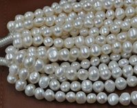 Wholesale Strands Black Pearls 9mm - free shipping natural beautiful Jewelry AA wholesale 5 strands 8-9mm Baroque white fresh water pearl loose beads 13.8inch