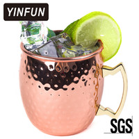 Moscow Mule Copper Mugs 304 Stainless Steel Bere Cup Hammered Copper Plated Drum-Type Bicchiere di birra per cocktail Bicchiere per acqua HOT 2017
