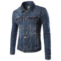 Wholesale Retro Motorcycle Clothing - Wholesale- Hot new Fashion 2017 Spring Men's Cotton Jeans Jacket Men motorcycle Retro washed Casual Slim Fit Denim Jackets Coat Clothing