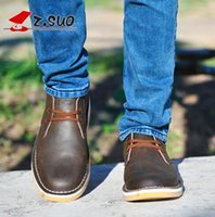Wholesale Horse Shoe Size - New Autumn Crazy Horse Cow Leather Men's Desert Shoes British Fashion Daily Casual Leather Tooling Shoes Plus Size 45