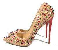 Wholesale Hot Pink Patent Heels - 2017 Hot Sales Rivets Red Bottom Women High Heels,Luxury Brand Pointed Toe Spiked Studded Shoes,Women Wedding Dress Shoes 34-44
