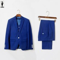 Wholesale UR Navy Blue Bussiness Royal Hot Anzug Handmade Plus Size Costume Homme Blazer Tuxedo Wedding Suits For Men Custom Made Men Suits