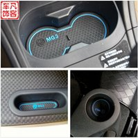 Wholesale Mg3 Car Stickers - High Quality Gate Slot Pad Rubber Car-cup Mat Non-slip Mat Car Accessories For MG MG3 8pcs set Car Styling