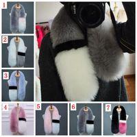 Wholesale Fox Patchwork Scarf - Womens winter scarf luxury brand scarves fox fur scarfs foulards echarpe hiver femme fulares mujer schal YYA647