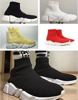 Wholesale Good Quality Women Socks - Good Quality Red Yellow Speed Trainer Casual Shoe Man Woman Sock Boots With Box Stretch-Knit Casual Boots Race Runner Cheap Sneaker High Top