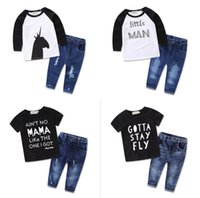 Wholesale Baby Kids Clothing Jeans - Wholesale Boys Girls Baby Childrens Clothing Sets Cotton Letters Printed tshirts Jeans 2 Piece Set Newest Kids Clothes Outfits
