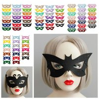 Wholesale Venetian Mask Colors - 80 Colors Venetian Unisex Masquerade Venetian Mask Cosplay Party Props Halloween Party Mask Swan Princess Half Felt Mask CCA6950 100pcs