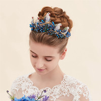 Wholesale Prom Hair Pins Blue - Vintage Wedding Bridal Crown Tiara Headpieces Blue Crystal Rhinestone Birds Hair Accessories Jewelry Headband Baroque Prom Jewelry Band