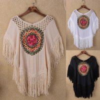Wholesale Ladies Batwing Poncho - summer new hollow-out crochet fring ladies poncho cape tassel women blouse handwork floral shawl cotton t-shirt female loose pullovers