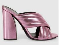 tacones de bloque para las mujeres al por mayor-2016 Nuevo Estilo de Verano Caliente Crossover de Cuero Talón Chunky Diapositivas Bloque Tacones Altos Sandalias Mules Zapatos Mujer Zapatilla barata