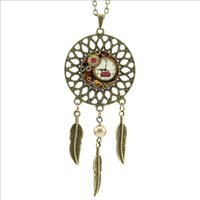 Wholesale Trendy Clocks - 2016 Trendy Style Brass Black Steam punk Necklace Steam punk Clock Jewelry Dream catcher Feather Necklace DC-00389