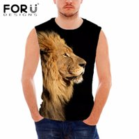 All'ingrosso- FORUDESIGNS Cool 3D Animal Leone Animale da stampa Top Tank Top Nero per Body Maschile Bodybuilding Fitness Slim Fit Muscoli Uomo Soft Top