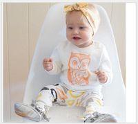 roupas de bebê menino corujas venda por atacado-2016 Novas Crianças Conjuntos de Roupas Crianças Dos Desenhos Animados Coruja T-shirt Tops + Padrões Geométricos Calças 2 pcs Set Bebê Meninos Meninas Casual Outfits Criança Terno