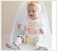 bayanlar baykuş gömlek toptan satış-2016 Yeni Çocuk Giyim Setleri Çocuklar Karikatür Baykuş Tişört Tops + Geometrik Desenler Pantolon 2 adet Set Bebek Erkek Kız Rahat Kıyafetler Çocuk Suit