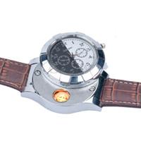 relógio de moda usb venda por atacado-DHL Homens relógios de quartzo Relógios Mais Leves F667 Moda Recarregável USB Eletrônico Relógios De Pulso dos homens Sem Chama Cigarro Mais Leve homem relógio