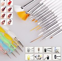 Wholesale Nails Art Drill - 20 Pcs Nail Suit Art Brush And Point Drill Pen Salon Design Set Dotting Painting Drawing Polish Brushes Tools