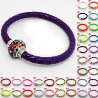 Wholesale Shambhala Rhinestone Charms - 25 Color PU Leather Shambhala Bracelet With Magnetic Buckle DIY Crystal Braided Charm Bracelet 19cm Punk Bracelets For Women Jewelry