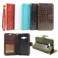Wholesale Hand Wallet For Mobile - Hand Strap Wallet Case For J5 J7 J1 J2 J3 Flip Cover Luxury Crocodile Grain Leather Pouch Case For Samsung J120 710 510 J1 Mobile Phone Bag