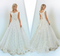 Wholesale Handmade Sashes - Gorgeous Full Lace Wedding Dresses Off Shoulder Lace Up Back A Line Bridal Gowns With Handmade Flower Sweep Train Wedding Dresses Customized