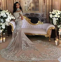 Wholesale Plus Size Bling Wedding Gowns - Luxury 2017 Wedding Dress Sexy Sheer Bling Beaded Lace Applique High Neck Illusion Long Sleeve Champagne Mermaid Bridal Gowns Chapel Train