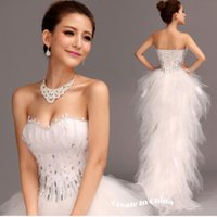 Wholesale Organza Feather Beaded Wedding Dress - 2016 new arrival cheap Wedding Dress Short Front Long Feather Wedding Dresses Plus Size Wedding Dresses Vestido de Noiva Curto