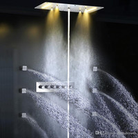 Wholesale Shower Water Jet - body jets shower 380*700mm rainfall,waterfall,mistfall and water column bathroom recessed ceiling rainfall shower set with massage spray