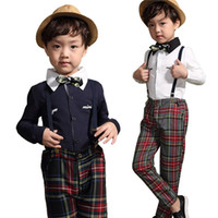 Wholesale Trading Buttons Wholesale - PrettyBaby Wedding Suit New Kids Foreign Trade Clothes sets Baby Boy Fashion England Style Shirt Plaid Suspender Cotton clothing set