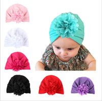Wholesale Baby Hat Photography - Baby Hats Bohemiah Flower Caps Girls Knot India Turban Kids Fashion Head Wraps Toddler Winter Beanie Xmas Headwear Photography Props B2712