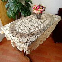 100% Cotton order tablecloths - Make to Order Gorgeous crochet pattern handmade table cover hand crochet table topper crocheted beige Oval tablecloth for