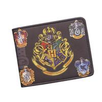 Wholesale Wallet Badges - Harry Potter Wallets With Small Zipper Pocket Men Wallet Coin Bag Credit Card Holder Hogwarts Badge Designer Wallet For Student