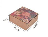 Wholesale Box For Mooncake - 20pcs pack: 11.2x11.2x4.5cm Small flowers 4PACK Cake Box cardboard boxes for cakes 6 Grain kraft cardboard boxes paper box