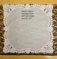 "Wholesale Ladies Handkerchiefs Embroidered - Home Textile Fashion Ladies Handkerchief 12Pcs lot 12X12""White Soft 100%cotton Wedding Handkerchief Embroidered Roses Lace Hankies For Bride"