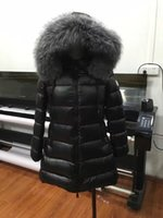 Wholesale Down Jacket Fox Fur - M27 Brand women Down jacket winter Long coat thickening real fox fur collar hood down Parkas Black  Red color